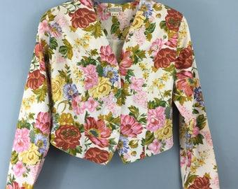 MONSOON Vintage 1980s floral cotton cropped jacket UK 10/12