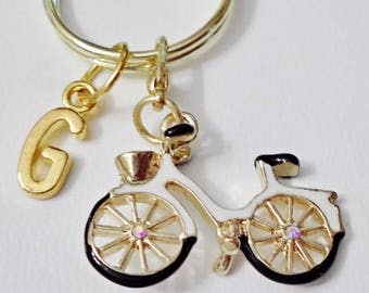 Great Design bicycle  personalized  initial keychain /u1
