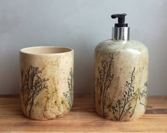 """Set for the bathroom """"grass"""".Ceramics And Pottery. pottery in the interior."""