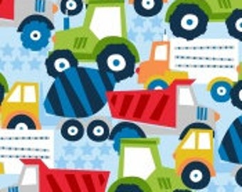Fleece Trucks, Tractors,on Light Blue 60' wide