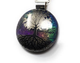 Tree of life pendant handmade - kiln fired dichroic glass - fused glass - reiki - meditation  - unique necklace - spiritual jewellery