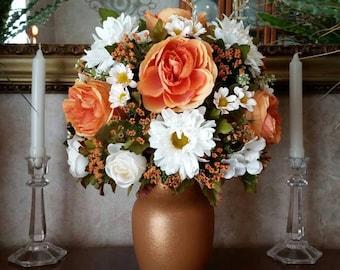 Fall Silk Flower Arrangement Silk Artificial Floral Centerpiece Home Decor Artificial Flower Arrangement