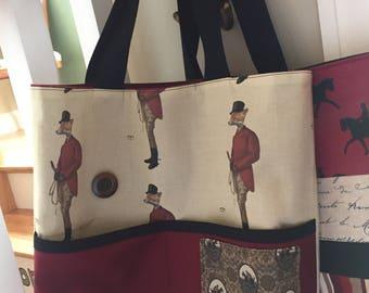 Vintage Equestrian Tote Bag