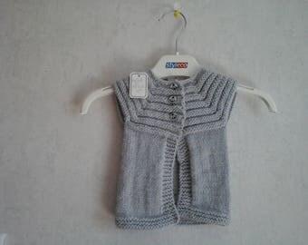 3 months pale gray sleeveless vest