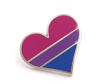 SALE-PRIDE MONTH Bisexual pride pin, gay lapel pin, bisexual flag pin, heart enamel pin, gay decoration, bi community