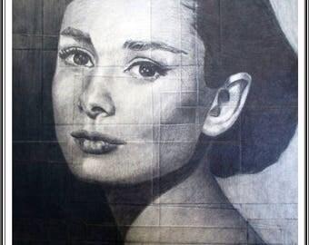 Audrey Hepburn original drawing, pencil ilustration Audrey Hepburn, star Hollywood gift lover art,living room decoration,star Audrey Hepburn