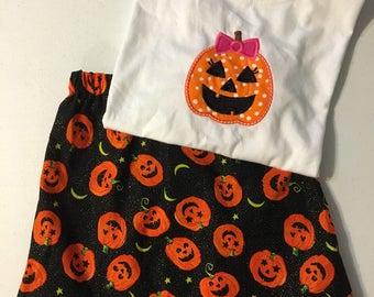Girl Pumpkin Shirt and Skirt