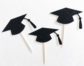 Grad hat cupcake toppers