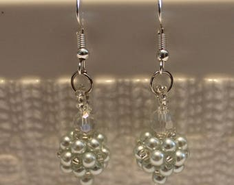 Cute Pearl and crystal-beaded earrings; beadweaving, handmade, dangle & drop, beautiful, casual-wear, party-wear, light blue
