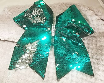 Green and silver reversible sequin cheer bow!