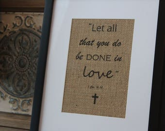"""Burlap Wall Decor - """"Let all that you do be done in love"""""""