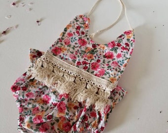 Penny Boho romper•small 6 months •baby•bloomer•high waist•spring•summer•photo prop•accessory•flower•cotton•toddler•girl•fringe•vintage
