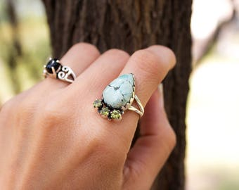 Turquoise Ring, Turquoise Ring Sterling Silver, Turquoise Jewelry, Pear Shape Turquoise Stone Ring, Native American Ring, Navajo Ring