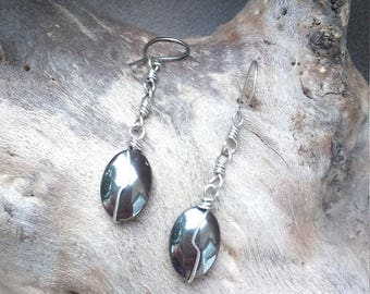Ethnic, Celtic and elven earrings in stainless steel and Hematite