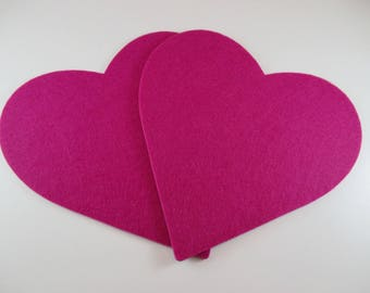 2 cutted circle Stickers from felt, laser, heart, hot pink.