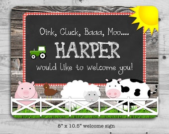 Farm birthday welcome sign - personalized with your child's name - digital / printable