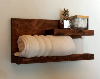 Wood Wall Shelf, Rustic Floating Shelf, Bathroom Shelf, Towel Shelf, Wall  Mounted