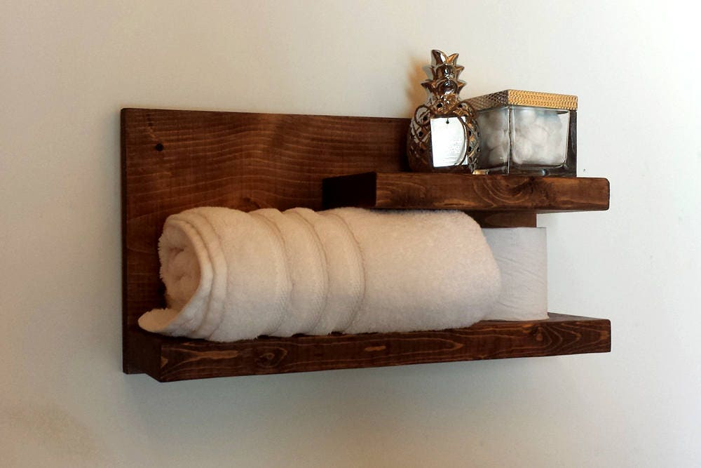 Wood Wall Shelf, Rustic Floating Shelf, Bathroom Shelf, Towel Shelf, Wall  Mounted Shelf, Bathroom Storage, Shabby Chic Decor, Dorm Decor