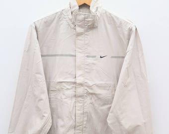 Vintage NIKE Small Logo Sportswear Brown Zipper Jacket Windbreaker Size M