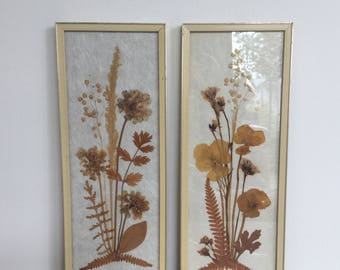 Set of 2 mid century 50's 60's images with pressed flowers in a wooden frame
