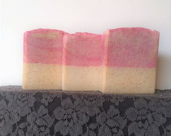 Pretty in Pink Soap Bar~ Floral Musk and Vanilla Scented~Oatmeal Soap~Handmade~Olive Oil~Coconut Oil~Shea Butter~Skin Care~ Shaving Bar~