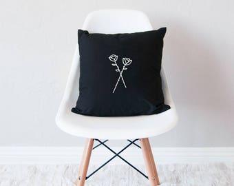 Black throw pillow with insert / minimal home decor / roses design cushion /