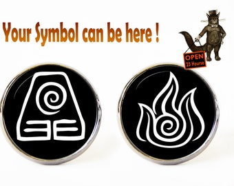 Legend of Korra cufflinks, Avatar The Last Airbender cufflinks, Legend of Korra jewelry, Men's Jewelry, Avatar symbols Earth Fire Water Air