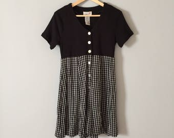 two tone romper || 80s black and gingham romper