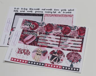 February Notes Page   Erin Condren Notes Kit, Weekly Vertical Stickers, EC 2018, Floral, Rose Bouquet, Love, Valentines Kit, Pink, Red