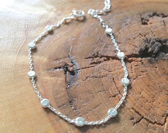Satellite mini coin chain bracelet,  sterling silver bracelet, dainty bracelet, layering chain, gift for her, tiny coin satellite bracelet