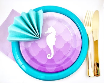 Mermaid Party In A Box - Mermaid Party Supplies - Mermaid Party Table Setting - Under The Sea Party - 1st Birthday Party