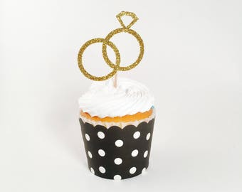 Wedding Rings Cupcake Toppers - I Do Cupcake Toppers - Wedding Dessert Table Decorations  - Wedding Cupcakes - Engagement Party Decorations