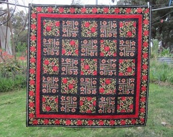 Handmade Quilt, Black red and gold quilt, christmas gift,