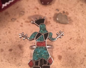 Navajo Sterling Silver Kachina Turquoise Onyx Coral Inlay Size 6.5 Ring