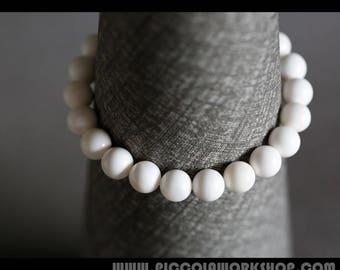 GradeAAA Natural Giant Clam Shell Beads Bracelet,White Bracelet