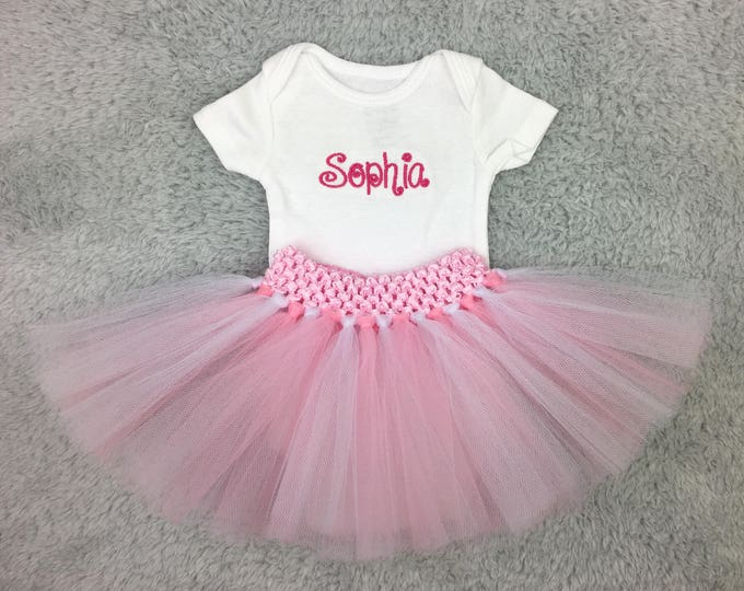 Preemie bodysuit and tutu - personalized baby shower gift, preemie gift set, monogrammed preemie clothes, take home outfit, NICU photography
