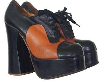 outlet store 4209b 4650d 1970s Authentic Vintage Tony Iammatteo for Cristina Womens Black Brown  Platform Shoes .