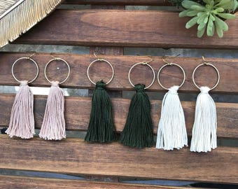 Boho circle tassel earrings