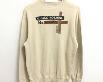 RARE!!! HIROKO KOSHINO Big Logo Embroidery Crew Neck Cream Colour Sweatshirts Hip Hop Swag L Fit M Size