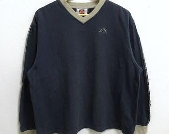 RARE!!! KAPPA Small Logo Embroidery V-Neck Long Sleeve T-Shirts Hip Hop Swag L (Ladies) Size