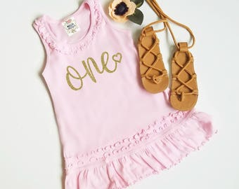 Pink and Gold 1st Birthday Outfit - First Birthday Dress - One Year Old Dress - Baby Girl Birthday Outfit - Dresses - Baby Clothing