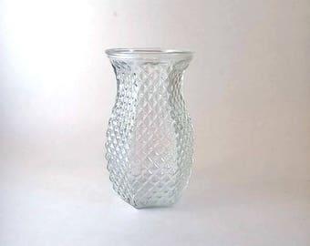 Hoosier Glass Vase  Diamond Point Pattern