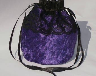 "Purple Crushed Velvet & 3"" Lace Dolly Evening Handbag / Purse Wedding Bridesmaid Bag Drawstring"