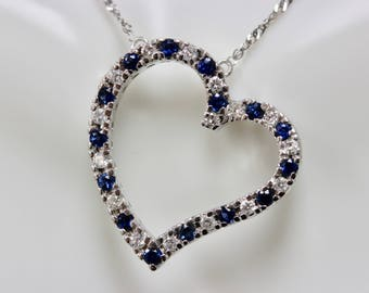 14K White Gold Diamond and Blue Sapphire Heart Pendant Necklace