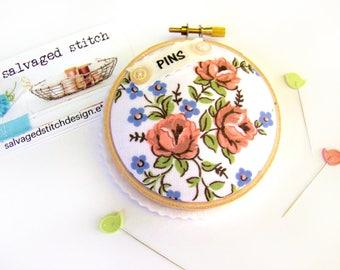 Pincushion, Embroidery Hoop, Sewing Gift, Sewing Supply, Pin Cushion, Pin Holder, Re-purposed Sewing Notions, Pin Keep, Pin Pillow Sewing