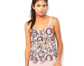 The Bird Family Tree Women's Printed Scoop Neck, Flowy Tank with Side Slit with Unique Design