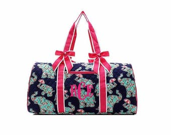 Large quilted Rosey Elephant duffle bag, Monogrammed duffel bag Personalized Tote Travel Tote Cheer Gym Weekend Weekender