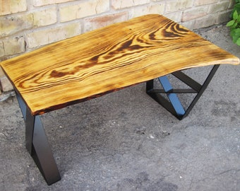 Attractive Small Entryway Bench. Industrial Coffee Table. Industrial Bench. Live Edge Coffee  Table.