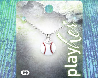 Customized Baseball First Base Enamel Necklace - Personalize with Jersey Number, Heart Charm, or Letter Charm! Great Baseball Mom Gift!