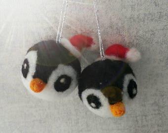 Needle felted penguin, Christmas decoration, Penguin ornament, Santa Penguin, Christmas tree ornament,SOLD INDIVIDUALLY,